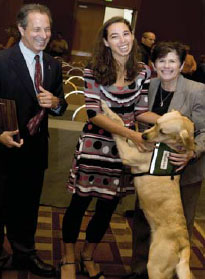 Dory with Sarah, Deputy District Attorney Robert Eichler, and San Diego County District Attorney Bonnie Dumanis